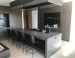Grey Kitchen Island, Waterfall Countertop Concrete Countertops Flying Turtle Cast Concrete Modesto, CA