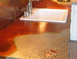 Veins, Multi Colored Concrete Countertops Absolute ConcreteWorks Port Townsend, WA