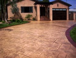 Stamped Driveway Texture Concrete Driveways Color Cap Concrete Coatings, Inc. Sherman, TX