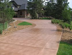 Tan Brown Driveway Concrete Driveways Decorative Coatings and Concrete Company Aurora, CO