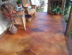 Stained Concrete Porch, Brown Concrete Porch Concrete Entryways Maverick Concrete Inc Coatesville, PA