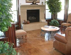 Fireplace, Surround Concrete Floor Overlay Solid Solutions Studios Fresno, CA