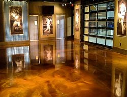 Brown Floor, Baseball Concrete Floors Quick Creations Newcastle, CA