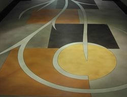 Stained Floor, Geometric Shapes Concrete Floors LA Concrete Works West Hills, CA