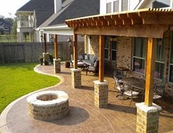 Brown Patio, Stmaped Patio Concrete Patios Texian Concrete Houston, TX