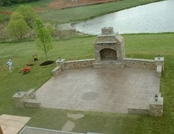 Fireplace, Patio, Grass, Pond Concrete Patios Cornerstone Foundations Culpeper, VA