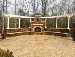 Patio Fireplace, Pergola, Seating, Stamped Concrete Patios Greystone Masonry Inc Stafford, VA