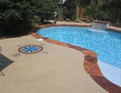Concrete Pool Deck, Concrete, Pool Deck, Decorative Concrete, Custom Concrete, Compass  Concrete Pool Decks McAleer Concrete Design Spanish Fort, AL