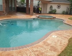 Pool Deck, Colored Concrete Concrete Pool Decks Angel's Concrete Design Services Houston, TX