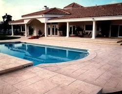 Stamped, Beige Concrete Pool Decks Brickform Rialto, CA