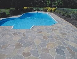 Stamped Pool Deck, Flagstone Pattern Concrete Pool Decks A1A Concrete Design Norfolk, VA