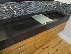 Black Double Sink Concrete Sinks Reaching Quiet Design Charlotte, NC