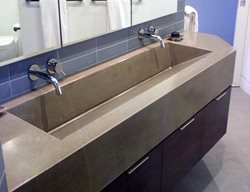 Ramp Sink, Double Bathroom Sink Concrete Sinks Concrete Interiors Martinez, CA