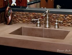 Square Sink, Pebble Backsplash Concrete Sinks SunWorks Decorative Concrete LLC Annville, PA