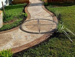 Decorative Concrete, Concrete, Concrete Walkway, Concrete Compass Concrete Walkways Angel's Concrete Design Services Houston, TX