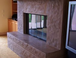 Brown, Large Fireplace Surrounds Concrete Interiors Martinez, CA