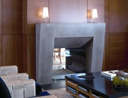 Gray, Sleek Fireplace Surrounds Buddy Rhodes Concrete Products SF, CA