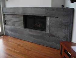 Grey Concrete Fireplace, Natural Concrete Fireplace Fireplace Surrounds Livingstone Concrete Studios Lincoln, RI