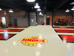 Auto Shop Flooring, Epoxy Flooring Floor Logos and More Custom Concrete Solutions, LLC West Hartford, CT