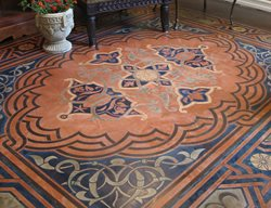 Concrete Floor Stencil, Modello Stenciled Floor, Stenciled Concrete Floor Floor Logos and More Modello Designs Chula Vista, CA