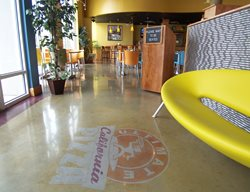 Pizza Parlor Entry Floor, Decorative Concrete Logo Floor Logos and More Surface Design Solutions Atlanta, GA