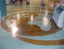 World Graphic Floor Logos and More Performance Floor Systems, Inc Orange, CA