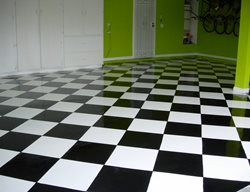 Black & White, Checkerboard Garage Floors Magic Koncrete Design Hesperia, CA