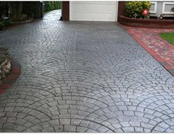 Charcoal, Silver Get the Look - Stamping Starburst Concrete Design Brewster, NY