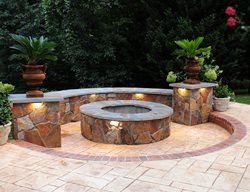 Fire Pit, Seat Wall, Stamped Concrete Outdoor Fire Pits Salzano Custom Concrete Aldie, VA