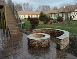 Patio With Fire Pit Outdoor Fire Pits Old Time Masonry & Stamped Concrete Co Bear Creek Twp, PA