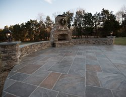 Faux Slate, Seat Walls Outdoor Fireplaces Salzano Custom Concrete Aldie, VA