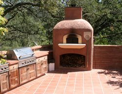 Red Pizza Stove Picture Outdoor Fireplaces Tom Ralston Concrete Santa Cruz, CA