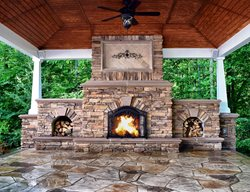 Stamped Concrete, Flagstone Pattern Outdoor Fireplaces Greystone Masonry Inc Stafford, VA