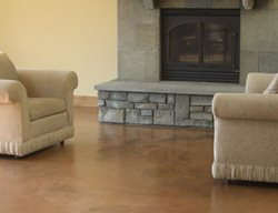 Living Room, Brown, Fireplace Site Kent Magnell Concrete Artisan Santa Rosa, CA