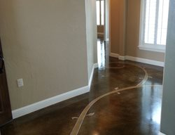 Stained Floor Scrollwork Stained Concrete Decorative Crete-Worx Grand Prairie, TX
