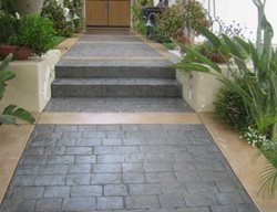 Path, Entrance, Walkway Stamped Concrete Creative Concrete Works Irvine, CA