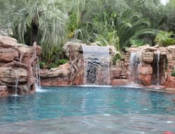 Faux Waterfall, Pool Waterfalls Water Features Matrix Concrete Artisans Oceanside, CA