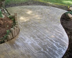 Faux Bois Patio, Wood Stamped Concrete Concrete Patios Concrete Creations Plymouth, IN