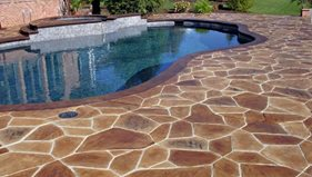 Brown, Stone Concrete Pool Decks Decorative Concrete Construction LLC Columbus, OH