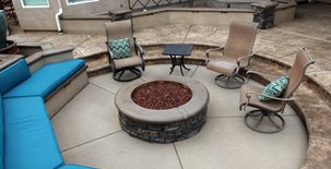 Exposed Aggregate, Sunken Patio Concrete Patios Heritage Bomanite Fresno, CA