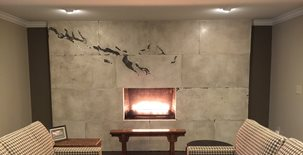 Custom Fireplace, Fireplace Design Polished Concrete M Concrete Studios Dayton, OH