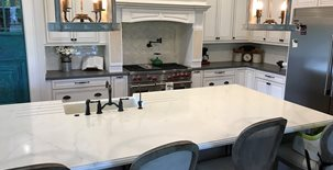 Faux Marble, White Kitchen Island Concrete Countertops Price Concrete Studio Orlando, FL