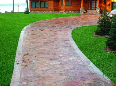 Red, Flagstone Concrete Driveways Verlennich Masonry and Concrete Staples, MN
