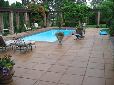Brown, Squares Concrete Pool Decks Decorative Coatings and Concrete Company Aurora, CO