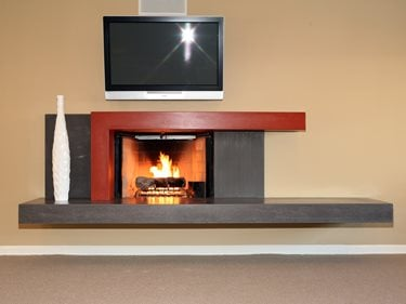 Modern, Slate Gray Fireplace Surrounds Pourfolio Custom Concrete San Diego, CA