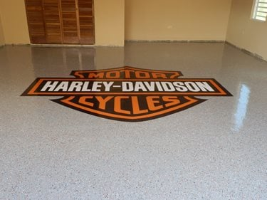 Harley Davidson Logo, Epoxy Floor Site Decorative Concrete Innovation Puerto Rico,