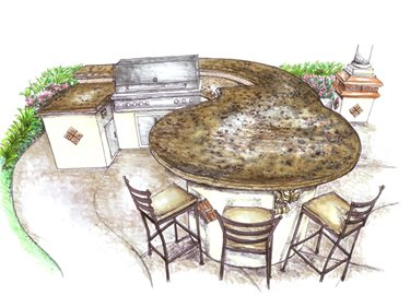 outdoor kitchen countertop shapes and layout configurations - the