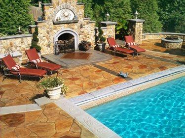 Backyard Oasis Stamped Concrete Greystone Masonry Inc Stafford, VA
