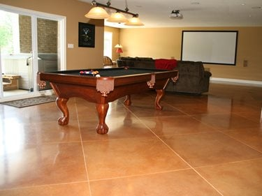 Diamond Pattern, Rec Room Floor Concrete Floors RS Concrete Solutions Strathroy, ON