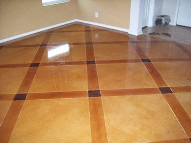Stained Pattern, Tan Concrete Floors Custom Concrete Solutions Schertz, TX